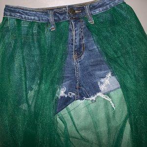 Denim & Tulle Custom Skirt